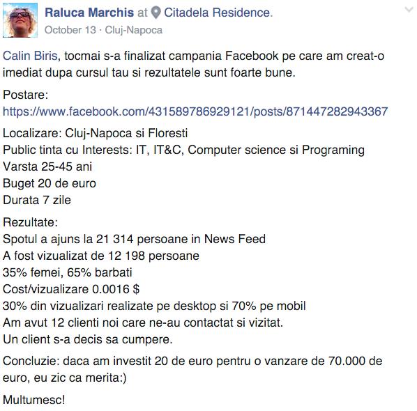 Testimonial Raluca Marchis
